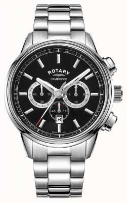 Rotary | cambridge heren chronograaf | zwarte wijzerplaat | roestvrij staal GB05395/04