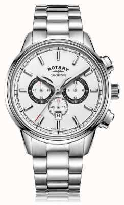Rotary | cambridge heren chronograaf | witte wijzerplaat | roestvrij staal GB05395/02