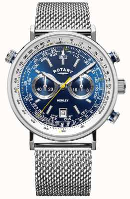 Rotary | heren henley chronograaf | stalen gaas armband | blauwe wijzerplaat GB05235/05