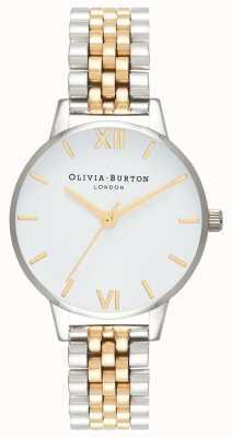 Olivia Burton vrouwen | midi wijzerplaat | tweekleurige armband | witte wijzerplaat | OB16MDW34