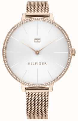 Tommy Hilfiger Kelly | roségouden pvd mesh armband | witte wijzerplaat | 1782115