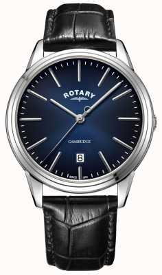 Rotary | cambridge heren | blauwe wijzerplaat | zwarte lederen band | GS05390/05