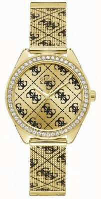Guess | vrouwen claudia | gouden gaas armband | gouden wijzerplaat | W1279L2