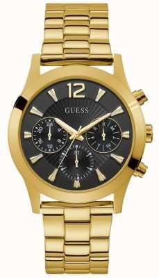 Guess | dameskylar | gouden pvd vergulde armband | zwarte wijzerplaat | W1295L2