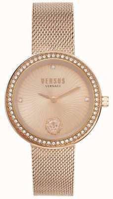 Versus Versace | dames la | roségouden armband van mesh | rosé gouden wijzerplaat | VSPEN0919