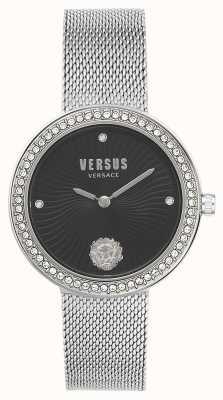 Versus Versace | dames la | zilveren mesh armband | zwarte wijzerplaat | VSPEN0719