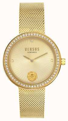 Versus Versace | dames la | gouden gaas armband | gouden wijzerplaat | VSPEN0819