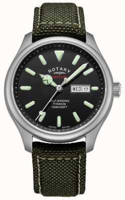 Rotary | heren erfgoed automatisch | titanium case | kaki riem | GS05249/04