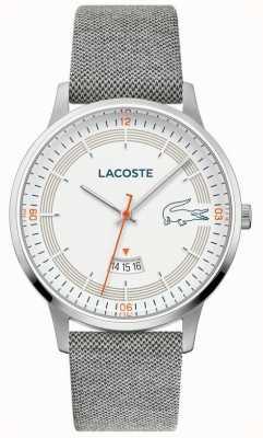 Lacoste | heren madrid | grijze lederen band | witte wijzerplaat | 2011031