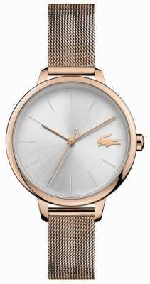 Lacoste | dames cannes | champagne mesh armband | zilveren wijzerplaat | 2001103