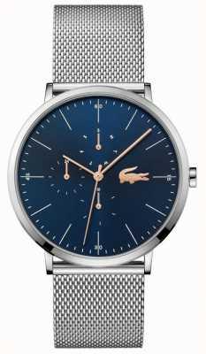 Lacoste | heren maan multi | stalen gaas armband | blauwe wijzerplaat | 2011024