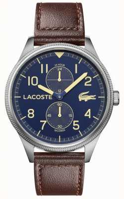 Lacoste | continentaal heren | bruine lederen band | blauwe wijzerplaat | 2011040