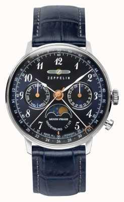 Zeppelin LZ129 Hindenburg quartz dag / datum horloge maanfase blauwe wijzerplaat 7037-3