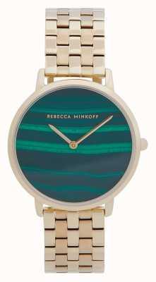 Rebecca Minkoff Major dames | vergulde stalen armband | malachiet wijzerplaat 2200373