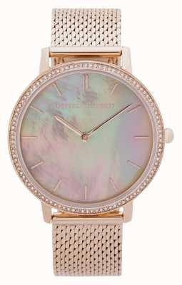 Rebecca Minkoff | grote dames | gouden gaas armband | parelmoer wijzerplaat 2200369