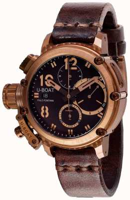 U-Boat Chimera chrono 43mm bronzen bruine band 8014