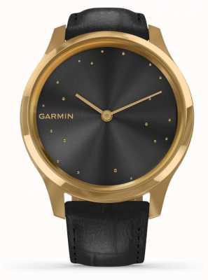 Garmin Vivomove luxe | Gouden kistje van 24 cent | zwart Italiaans leer 010-02241-02