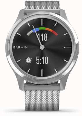 Garmin Vivomove luxe | roestvrijstalen kast | zilveren milanese band 010-02241-03