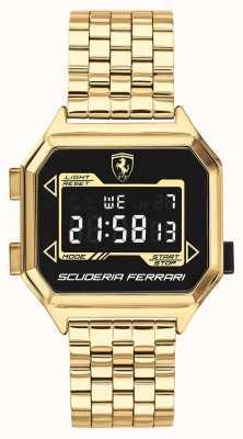 Scuderia Ferrari | heren digidrive | vergulde armband | zwarte wijzerplaat | 0830705