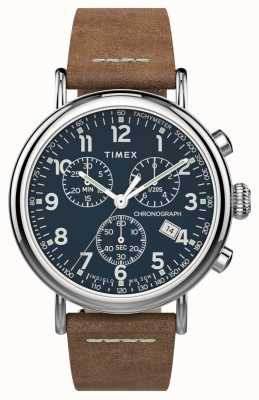 Timex | standaard chrono 41mm | bruine lederen band | blauwe wijzerplaat | TW2T68900