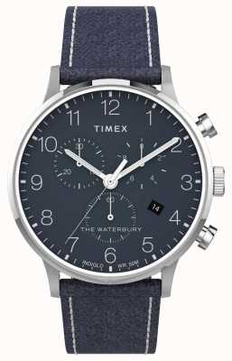 Timex | waterbury classic chrono 40mm | blauw leer | blauwe wijzerplaat | TW2T71300