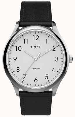 Timex | gemakkelijke lezer 40mm | zwarte lederen band | witte wijzerplaat | TW2T71800