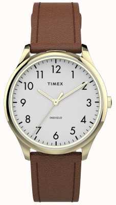 Timex | gemakkelijke lezer 32 mm | bruin lederen band | witte wijzerplaat | TW2T72300