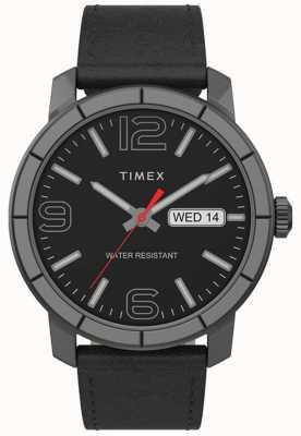 Timex | heren mod 44mm | zwarte lederen band | zwarte wijzerplaat | TW2T72600