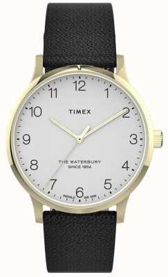 Timex | dames waterbury | zwarte lederen band | witte wijzerplaat | TW2T75200