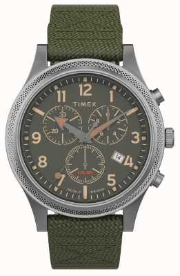 Timex   geallieerd in chrono 40mm   groene stoffen band   groene wijzerplaat   TW2T75800