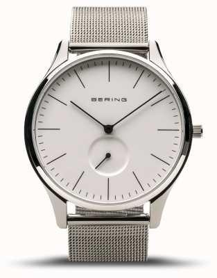 Bering | klassiek | heren gepolijst zilver | stalen gaas armband | 16641-004