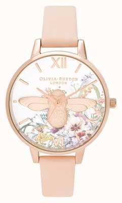 Olivia Burton | dames | betoverde tuin | 3d bij | perzik lederen band | OB16EG151