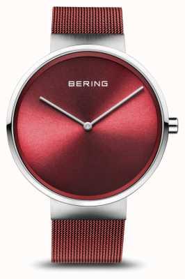 Bering | klassiek | gepolijst / geborsteld zilver | rode mesh armband | 14539-303