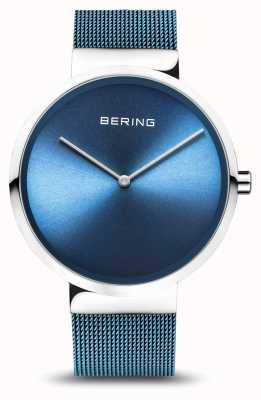 Bering | klassiek | gepolijst / geborsteld zilver | blauwe mesh armband | 14539-308