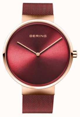 Bering | klassiek | gepolijst / geborsteld rosé goud | rode mesh armband | 14539-363