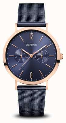 Bering | klassiek | gepolijst rosé goud | blauwe mesh armband | 14236-367