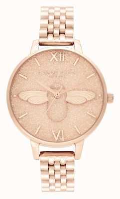 Olivia Burton | dames | glitter wijzerplaat | 3d bij | rosé gouden armband | OB16GD46