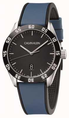 Calvin Klein | mannen concurreren | blauwe rubberen band | zwarte wijzerplaat | K9R31CV1