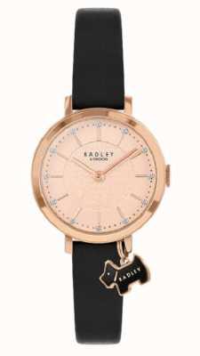 Radley Selby straat | zwarte lederen band | rosé gouden wijzerplaat | RY2928