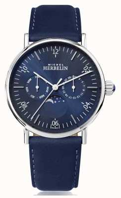 Michel Herbelin Montre inspiratie maanfase roestvrij blauwe lederen band 12747/AP15BL