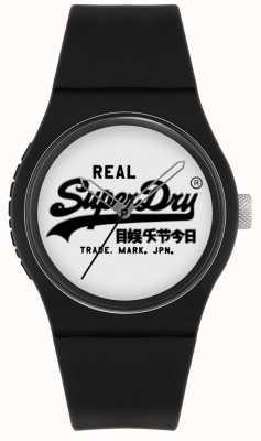 Superdry Stedelijke origineel | zwarte siliconen band | witte wijzerplaat | SYG280BW