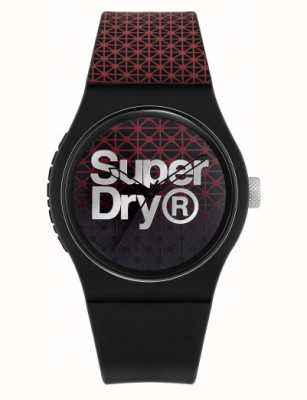 Superdry Stedelijke geosport | zwart / rode siliconen band | zwarte / rode wijzerplaat SYG268R