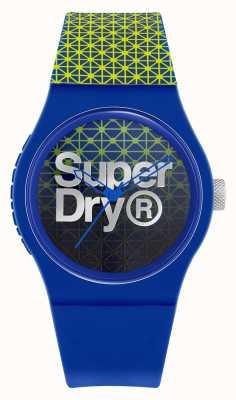 Superdry Stedelijke geosport | blauwe / groene siliconen band | blauwe / groene wijzerplaat SYG268UN