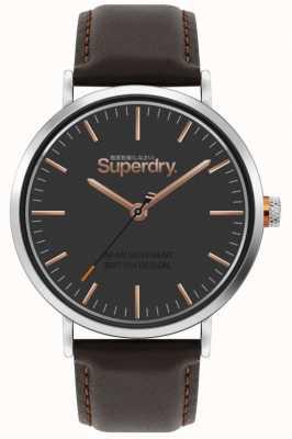Superdry Oxford | bruine lederen band | bruine wijzerplaat | SYG287BR