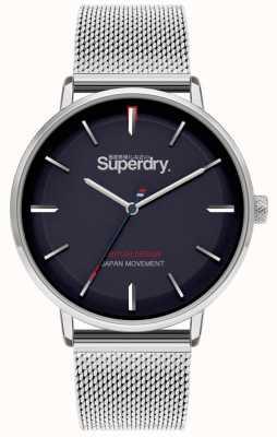 Superdry Ascot xl | zilveren mesh armband | blauwe wijzerplaat | SYG284SM