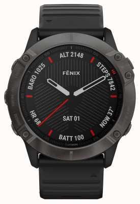 Garmin Fenix 6x pro saffier | carbon grey dlc | zwarte rubberen band 010-02157-11