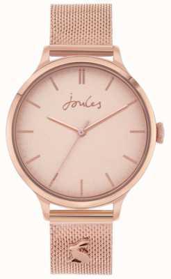 Joules Ryton | roségouden armband van mesh | rosé gouden wijzerplaat | JSL026RGM