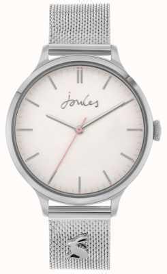 Joules Ryton | roestvrij stalen zilveren gaas armband | zilveren wijzerplaat | JSL026SM