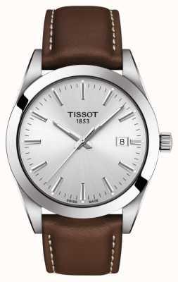 Tissot | heer | bruine lederen band | zilveren wijzerplaat | T1274101603100