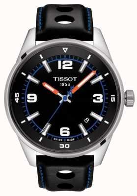 Tissot | alpine | zwarte lederen band | zwarte wijzerplaat | T1236101605700